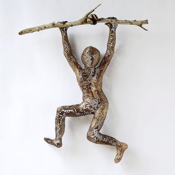 Metal wall art - Climbing man sculpture on tree branch - wire mesh - hang man sculpture