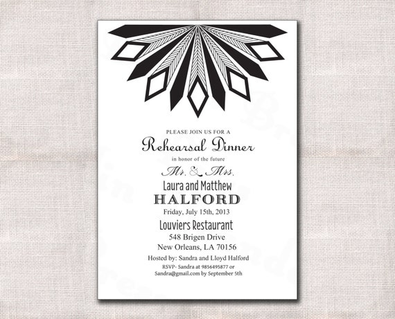 Items similar to Art Deco Wedding Rehearsal Dinner Invitation custom