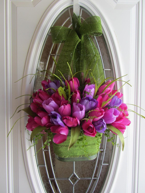 Tulip Wreath Spring Wreath Tulip Door Pocket Easter