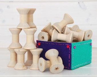 Wood Spools - 24 Medium Wooden Spools - Unfinished -1-15/16th x 1-3/8th  - Medium Wood Spools - Wood Spools for Twine