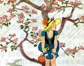 One of our BARGAIN 1.25 IMAGES!  April SHOWERS Under The Tree. Vintage Illustration.  Digital Download