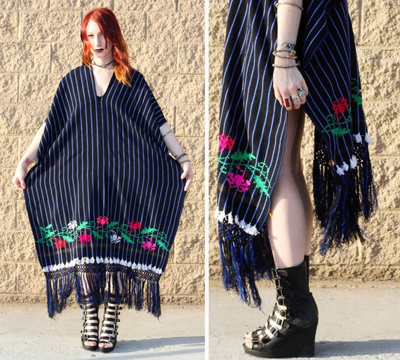 Mexican poncho with fringe