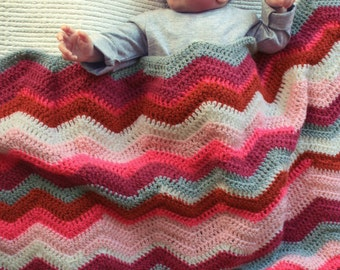 Crocheted chevron striped baby blanket