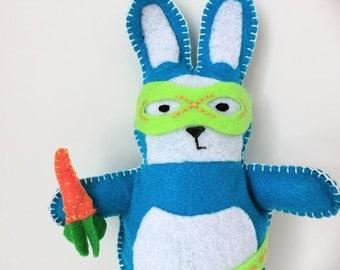 Superhero Bunny Felt Plushie