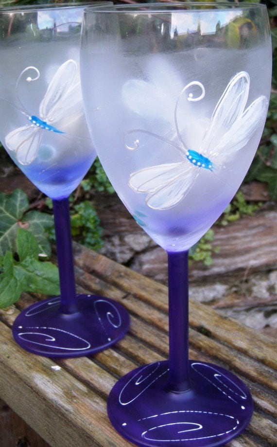 Dragonfly Hand Painted Wine Glasses In Purple
