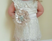 Vintage Shabby Chic Style Ivory Lace Flower Girl Dress With Sash