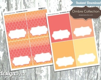 INSTANT DOWNLOAD - Printable Tent Card Add On Ombre Collection