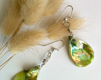 Sea Green Shell Earrings Wire Wrapped, Handmade Shell Earrings, Gift for Her