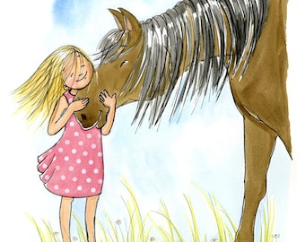 Kids Wall Art Print - The Love of a Girl and Her Horse - Girl's room decor- Customizable Hair and Dress Color