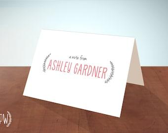 Printable Stationery note cards, personalized stationery custom, laurel branch monogram name, blank card - DIY digital PDF Printable Wisdom