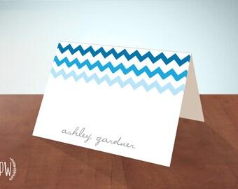 Printable Stationery note cards, personalized stationery custom, chevron ombre monogram name, blank card - DIY digital PDF Printable Wisdom