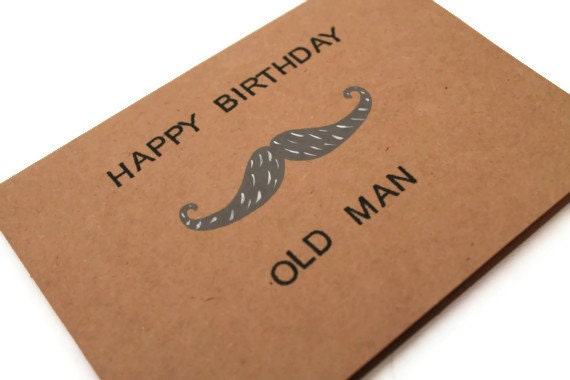 items similar to funny mustache birthday card. happy birthday old, Birthday card