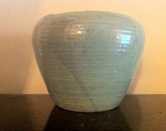 Zanesville Stoneage Modern Architectural Pottery Plant Pot, Stoneware Vase, Green Homespun, American Art Pottery, Horizontal Rings