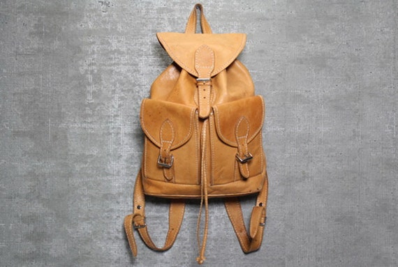 Vtg 70s Tan Camel Boho Soft Leather Backpack by theindustry