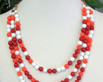 Orange Coral, Red Coral, and White Howlite Necklace - Candy Colors Necklace - Easter Necklace - Gum Ball Necklace