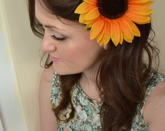 Large Dark Yellow Sunflower Flower Hair Clip & Brooch Corsage