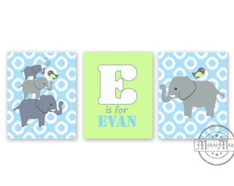Elephant Print - Nursery Art - Nursery or Toddler Room Decor - Personalized Elephant Print Set of 3 - 8 x 10