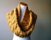 Handknit Cabled Cowl in Mustard Yellow - Circle Scarf - Non-Wool - Vegan - Made-to-Order