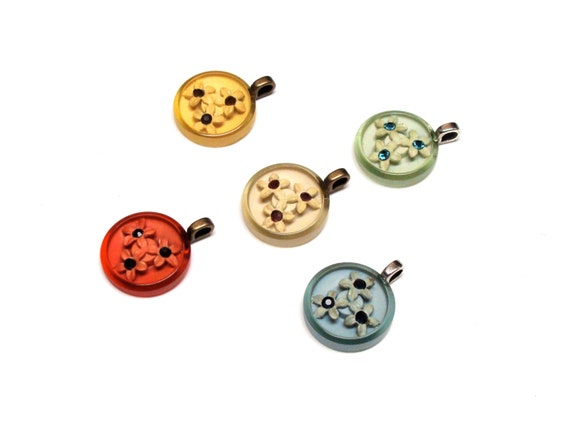 multi color gift set of necklace pendant charms with flower baskets