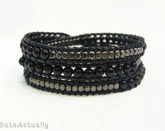 Black stone wrap bracelet with metal beads on polyester cord, black triple wrap bracelet