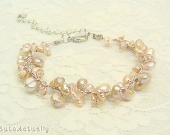 Pink freshwater pearl bracelet with crystal on silk thread