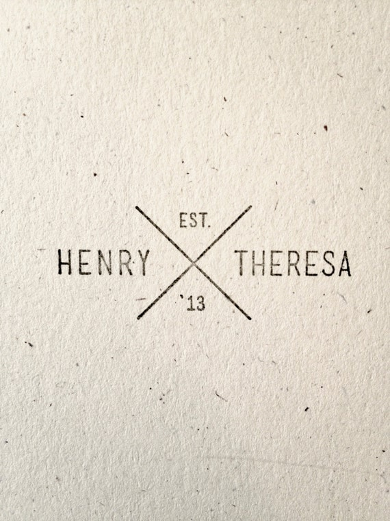 Mission Style Stamp - Custom, Mission Style, Geometric Rubber Stamp with Names and Year
