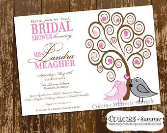Love Birds Bridal Shower Invitation, Bridal Shower Invite, Bird Theme Bridal Shower, Love Birds Invitation, Invite - Custom Digital File