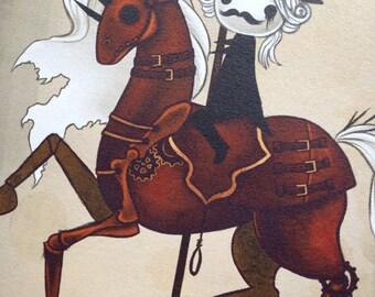 "8x12 fine art print - ""War"" Four Horsemen of the Apocalypse art - creepy, Gothic carousel drawing"