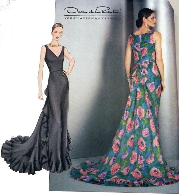 Vogue 2541 Oscar De La Renta Gown Sewing Pattern Size 8 10 12