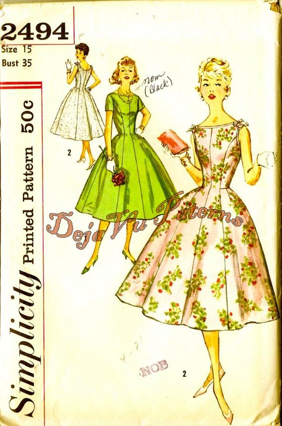 Simplicity 2494 Vintage 1950s Misses Princess Seam Evening Dress Pattern Sz 15