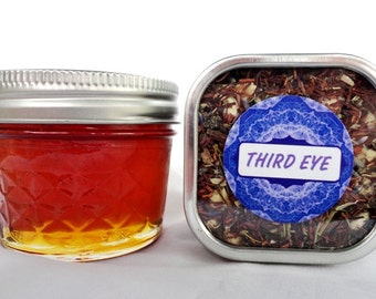 Organic THIRD EYE CHAKRA Honey & Tea Combo Set - vanilla, spearmint, jasmine, mugwort, rosemary, lavender, peppermint, rooibos
