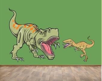 HUGE Trex and Raptor REUSABLE Fabric Wall Decal