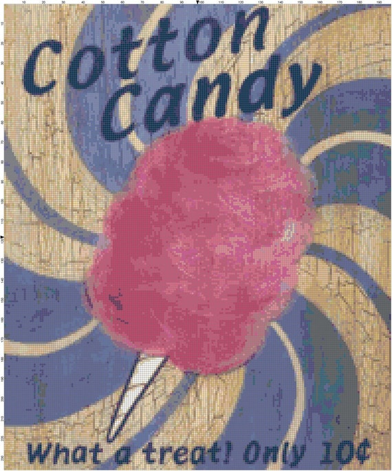Cotton Candy Sign: Retro Cotton Candy Advertisement Sign PDF Cross-Stitch Pattern