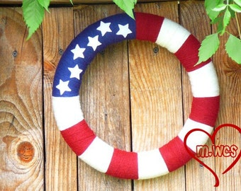 Patriotic Flag Yarn Wreath, Red White and Blue, Americana, 4th of July, Independence Day, Flag Wreath,  July Fourth Home Decor