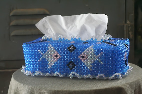 beaded tissue box cover with fish