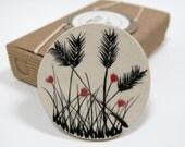 Poppies and spikes ceramic brooch