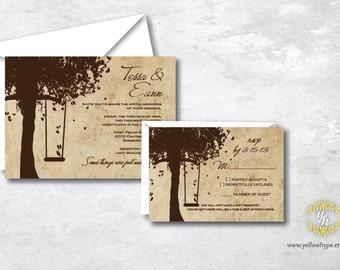 Antique Vintage Outdoor Wedding Invitation - Custom Wedding Invitation Set Including Invitation and RSVP