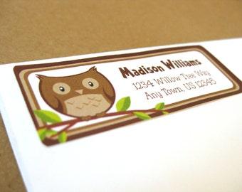 Owl Return Address Labels, Personalized Address Labels, Custom Address Label Stickers, 60 Custom Owl Address Labels, Owl Address Labels