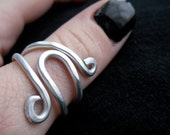 Wire Wrap Contemporary Ring - Hand Hammered Silver Jewelry