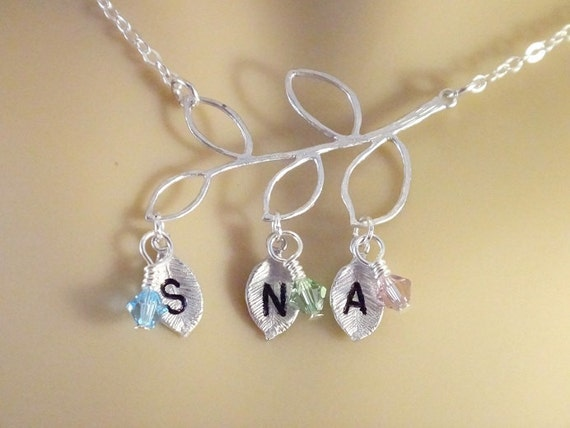 mothers necklace 3 personalized birthstone charms mothers day