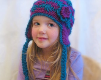 RTS Crochet Striped Beanie with Ear Flaps Kids Teal and Magenta Wool Blend Crochet Beanie Girls Purple and Blue Winter Hat READY to SHIP