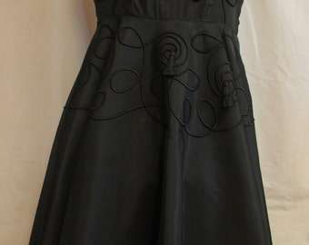 Vintage Black Taffeta 1950s Party Dress