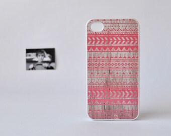 iPhone 4 Case - iPhone 4s Case - Coral Aztec iPhone Case over Wood Print - Aztec iPhone 4 Case - Geometric iPhone Case - Wood iPhone Case