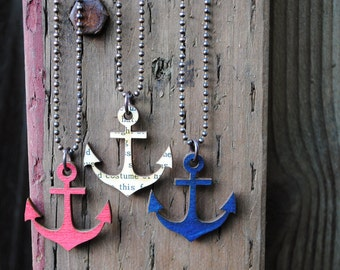 Anchor Necklace, Painted Birch Wood Pendant with Antiqued Copper Ball Chain, choose your color