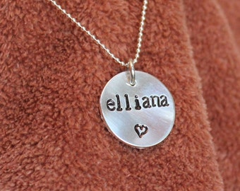 Handstamped Personalized Sterling Silver Name charm only - 5/8 inch disc