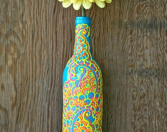 Hand Painted Wine bottle Vase, Turquoise bottle with sunshine yellow, orange and pink accents, Vibrant Henna style design