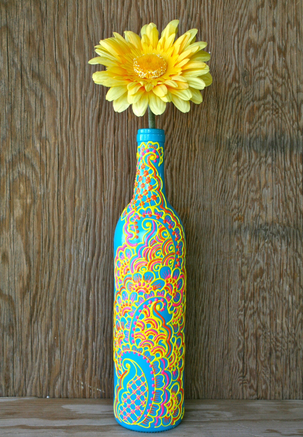 Hand painted wine bottle vase turquoise bottle with sunshine Painting old glass bottles