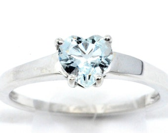 1 Carat Genuine Aquamarine Heart Ring .925 Sterling Silver Rhodium Finish
