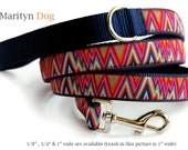 Chevron dog leash multi colored modern zig zag pink red naby ribbon pet leash for small dogs large dogs Dog collar Dog harnes are available