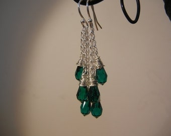 Silver and Emerald Swarovski crystal earrings.